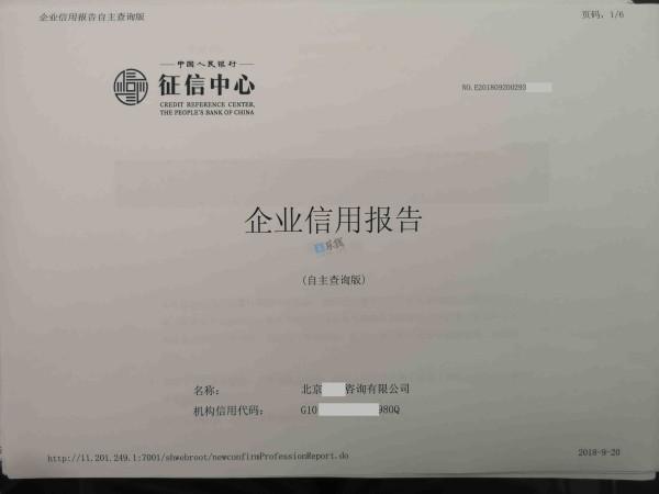借款企业信用报告